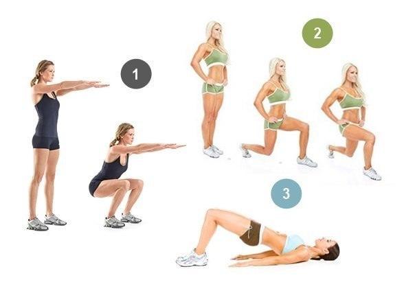 Упражнения для похудения ягодиц и бедер
